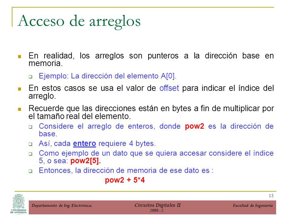 Acceso de arreglos En realidad, los arreglos son punteros a la dirección base en memoria. Ejemplo: La dirección del elemento A[0].